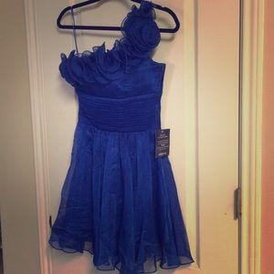 NWT XS one shoulder cocktail dress royal blue